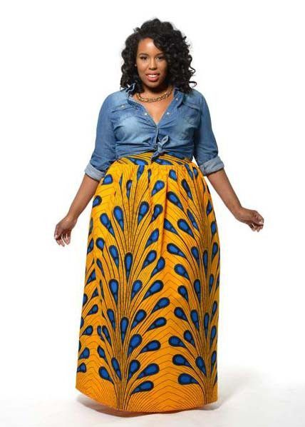 c1d4038cd2 Chic African Print Maxi Skirt (Peacock Feather)