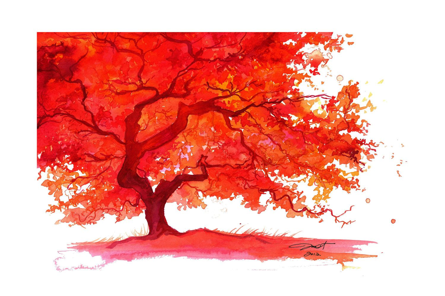 Watercolor Japanese Maple Tree Painting Jessica Durrant