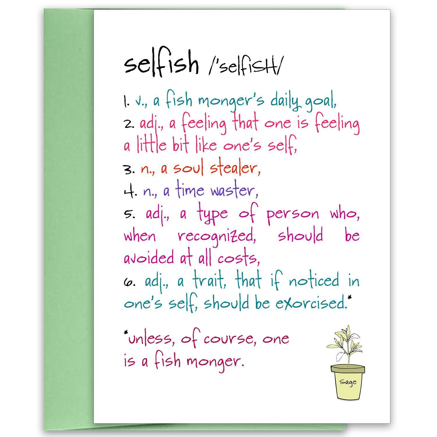 Selfish A Funny Relationship Greeting Card Products Pinterest