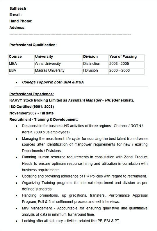 Assistant Manager HR resume template Example , Hiring Manager Resume