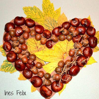 Ein Herz Aus Kastanien Und Eicheln Basteln Basteln Halloween Basteln Herbst
