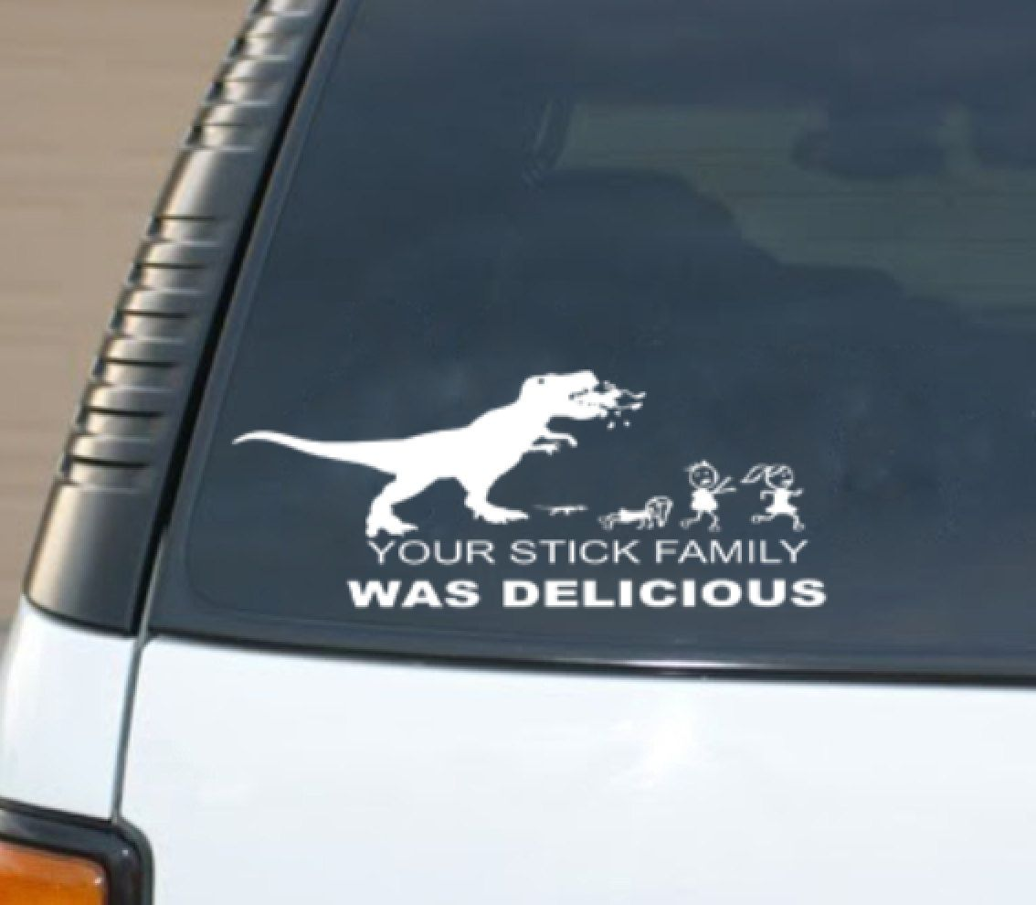 Your Stick Figure Family Was Delicious Trex By Wordfactorydesign 8 00 Stick Figure Family Stick Figures Car Decals Vinyl [ jpg ]