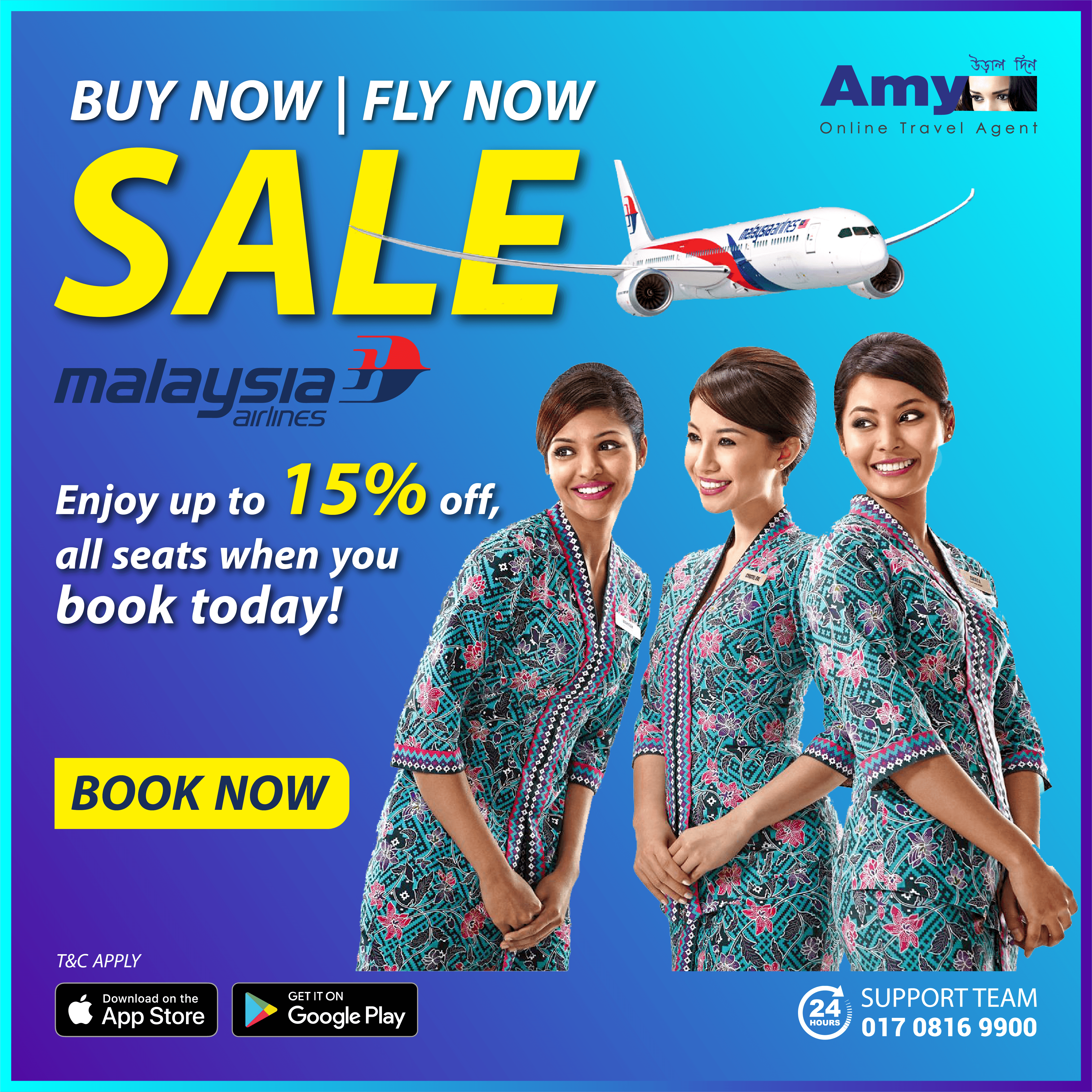 Up to 15% off all seats when you book today!  Enjoy up to 15% off all seats on all flights for only 24 hours and whisk off from Dhaka to ANY destination on the entire Malaysia Airlines network!  Sales period: Now until 26 Jan 2020 Travel period: Now until 31 Dec 2020  #Sale #Discount #Offer #Flights #CheapAirTicket #MalaysiaAirlines #Amy
