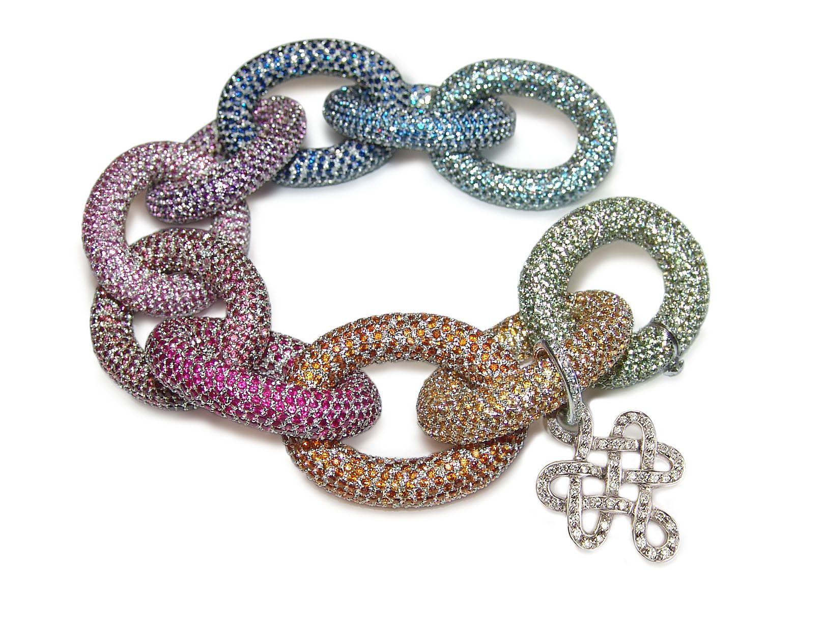 Diane Von Furstenberg by H.Stern collection. Bracelet Sutra in 18k white gold with colored gems, bold size.