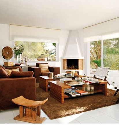lovely white and brown interior
