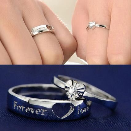 creative heart couple promise ring for him and her