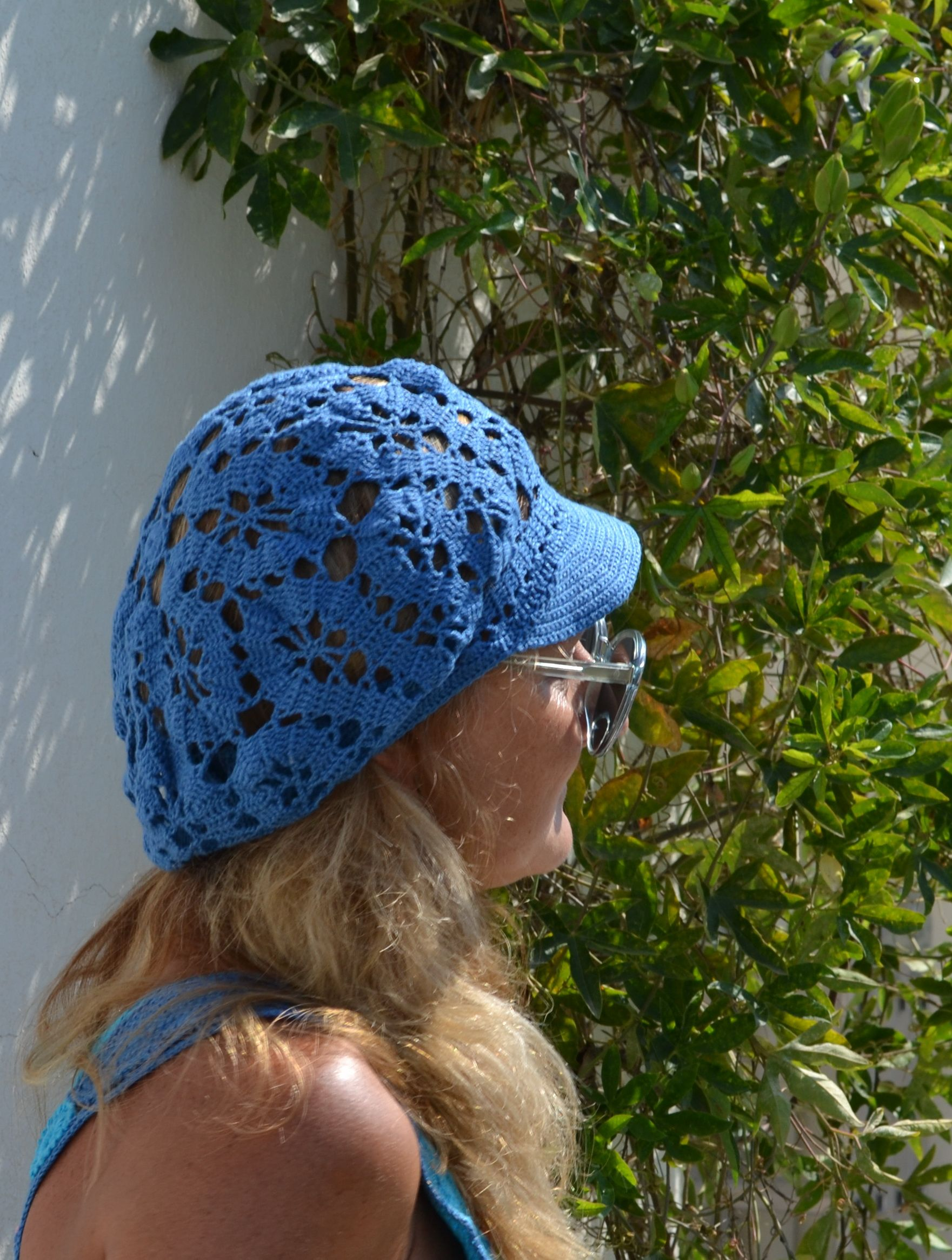 Crochet Cotton Brim Cap Beret visor Summer Slouchy Textured Mesh Brugge  lace style Newsboy Knit Cap  5ec307f94f94