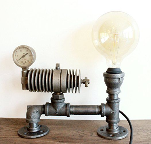steampunk lamp table lamp w gauge steampunk lighting industrial pipe decor vintage light industrial