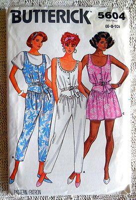 B 5604 Sew Pattern Jumpsuit Romper Play Suit Tapered Leg Shaped Waist 6 10 Uncut Butterick Pattern Vogue Sewing Patterns Jumpsuit Pattern
