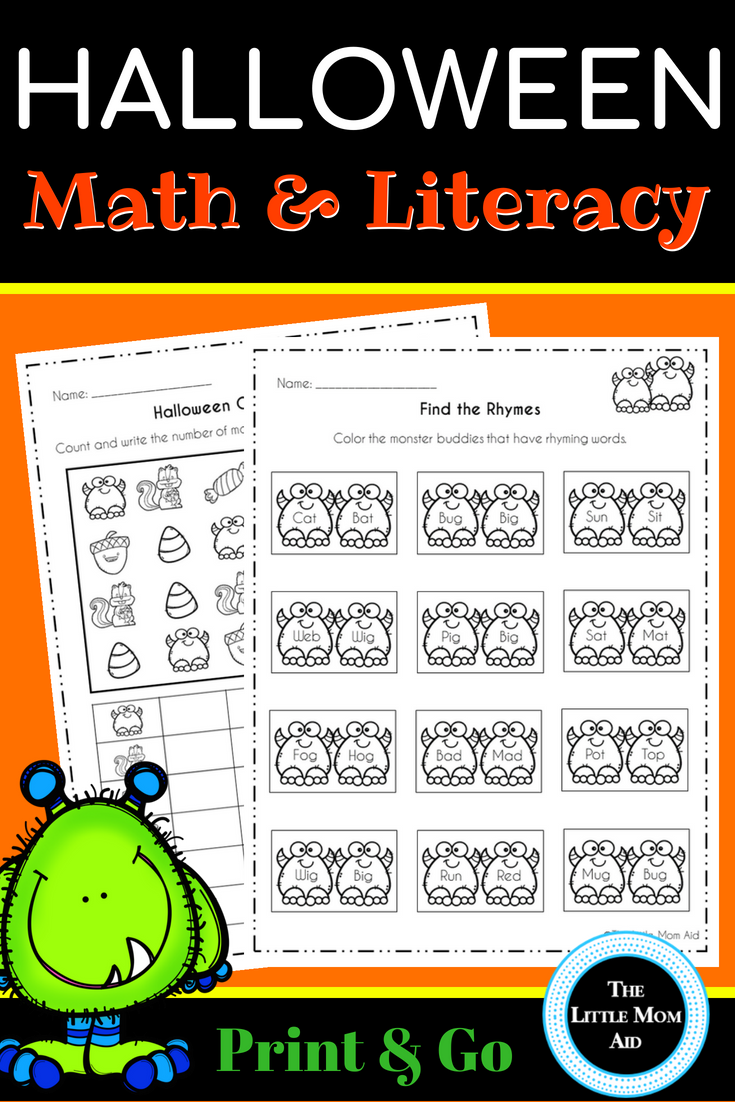 Halloween Math and Literacy Activities and Centers:Preschool and ...