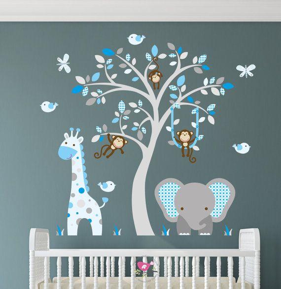 Jungle Nursery Wall Decal Coffee Cream Beige And Blue Monkey Giraffe Elephant Brown Tree Mural Boys Stickers Baby Decor