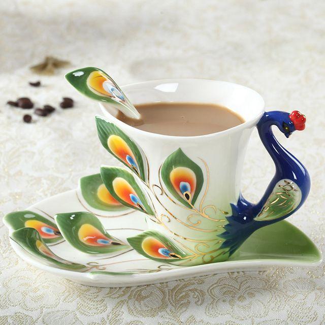Pea Coffee Mug Cup Ceramic Creative Bone China Color Emamel Porcelain Saucer Spoon Tea Sets Christmas Gift