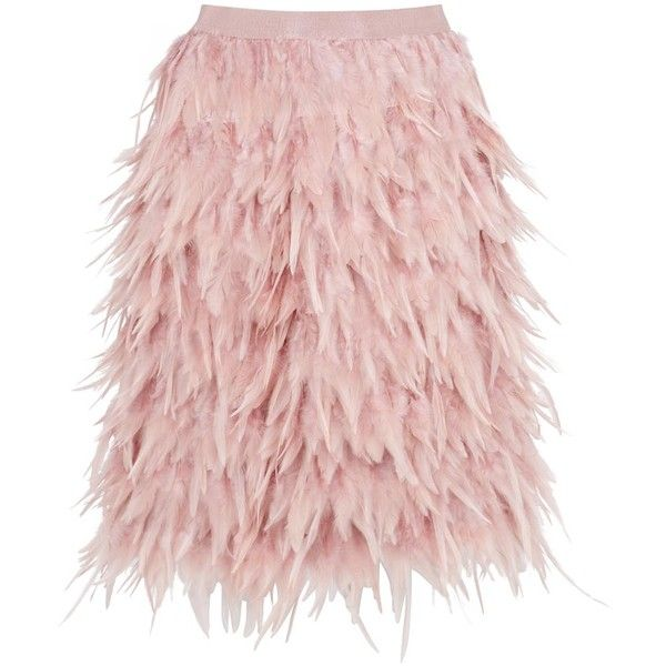 ecb9e2b09 DKNY Blush Feather Skirt (460 AED) ❤ liked on Polyvore featuring skirts,  bottoms, pink feather skirt, feather skirt, dkny, pink skirt and dkny skirts