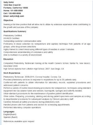 Resume For Phlebotomy Technician Resume Sample