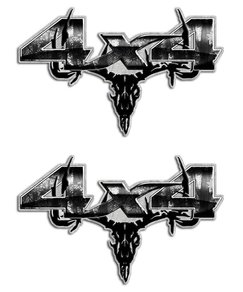 Gray Camo Skull X Sticker Set Gray X And Products - Skull decals for trucks