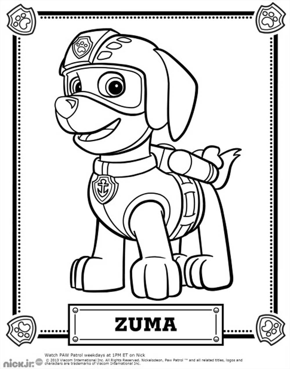 coloriage-pat-patrouille-zuma.jpg (1000×1272) | Coloring Pages ...