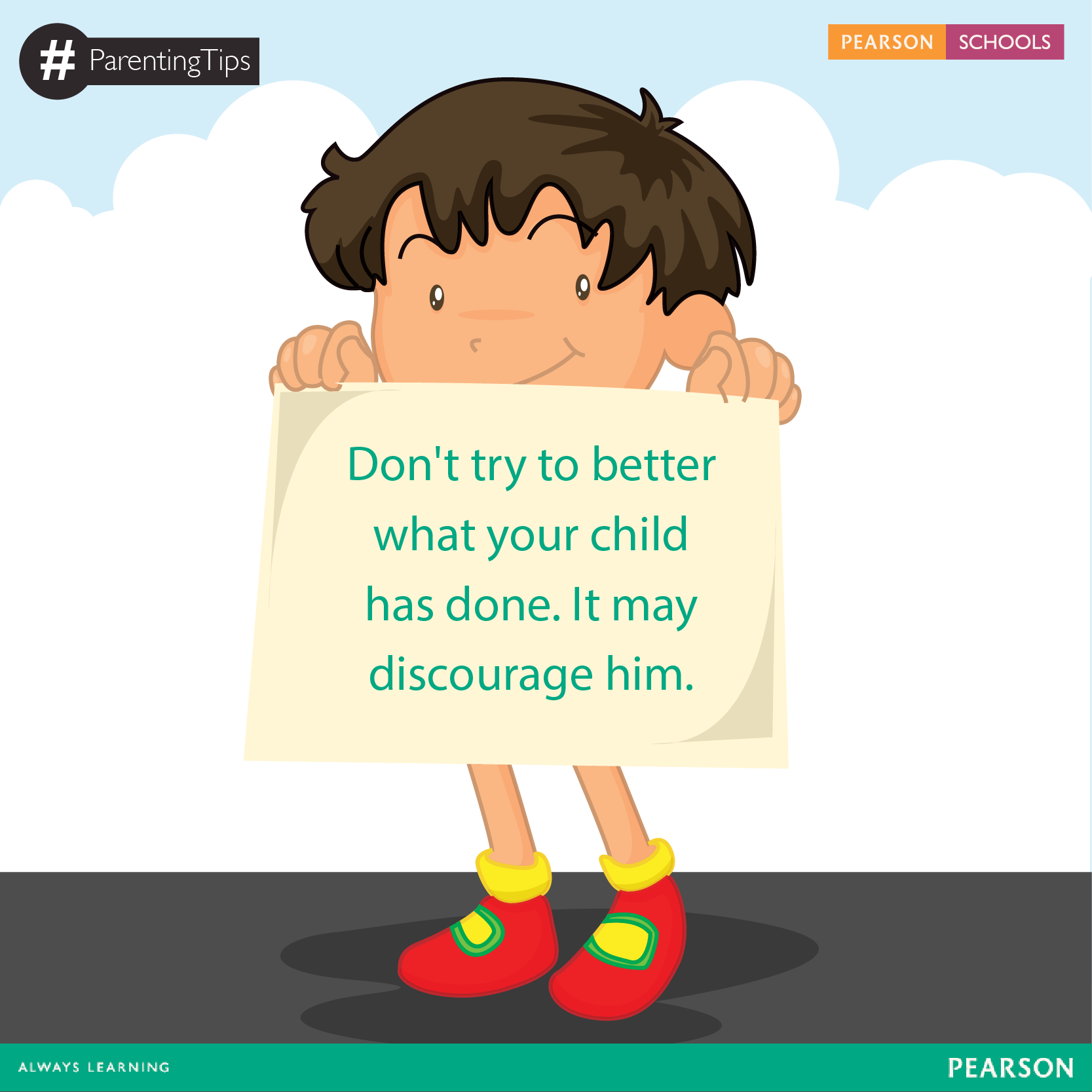 Unless absolutely necessary, don't fix what your child has accomplished. This simple task will build your child's confidence and sense of competency. #ParentingTips