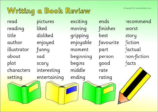 004 Book review writing word mat (SB9351) SparkleBox Book