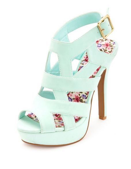 417905d62a14 Charlotte Russe    Strappy Caged Peep Toe Platform Heels.