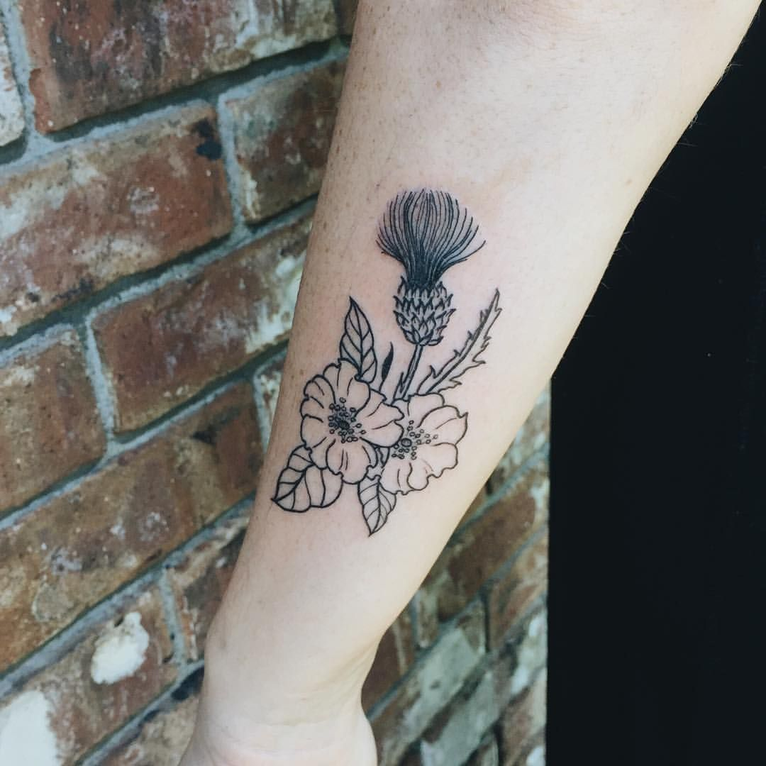 Wild roses and thistle for Alison!