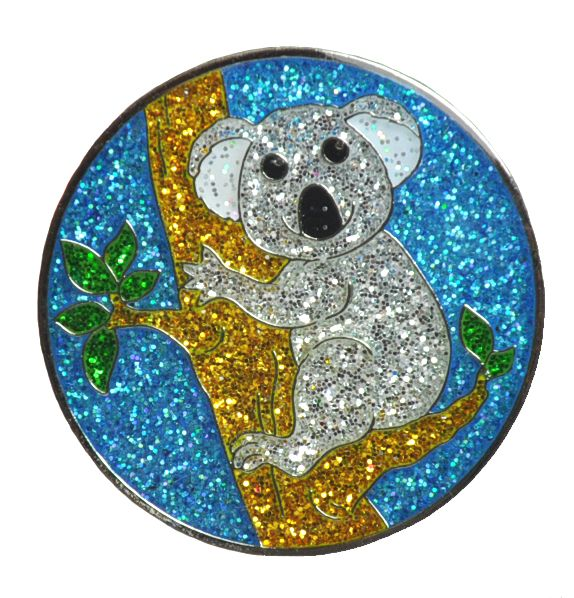 Koala Bear Glitzy Ball Marker With Hat Clip