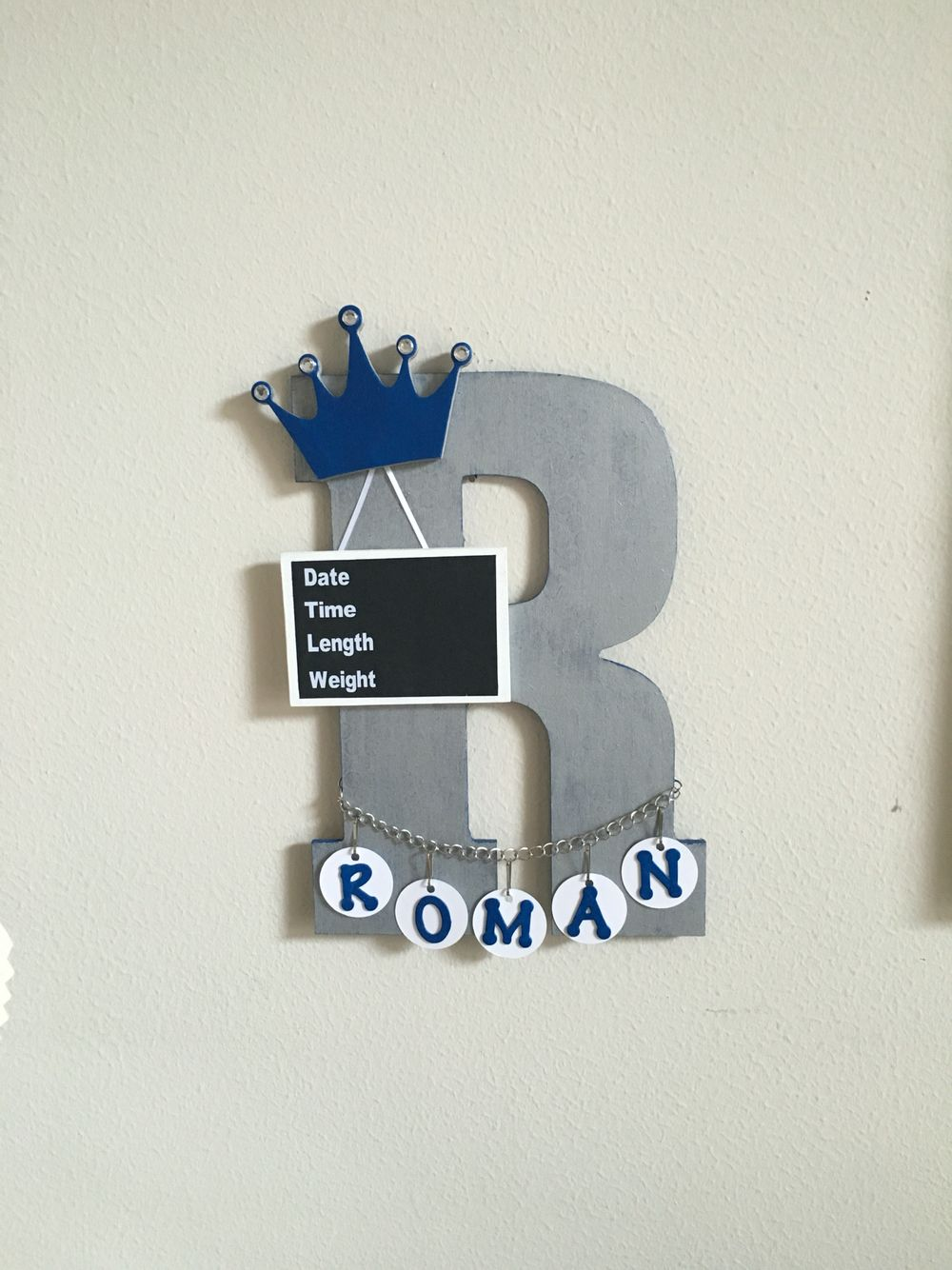 Baby Announcement Door Hanger 13 Inch Wooden Letter Painted And Decorated With Chalk Board Slate Crown Wooden Hangers Wooden Letters Wooden Letters Decorated