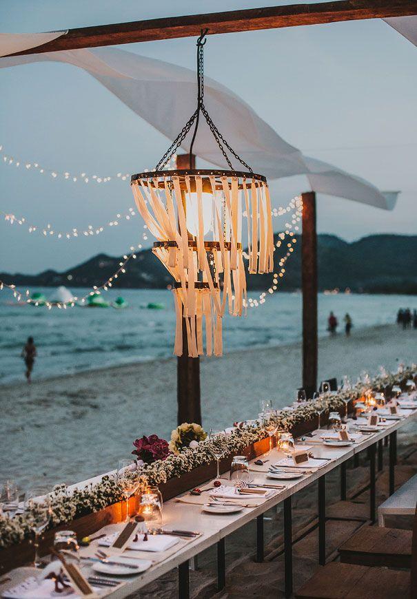 Destination Thailand Wedding Beach Reception And Chandelier