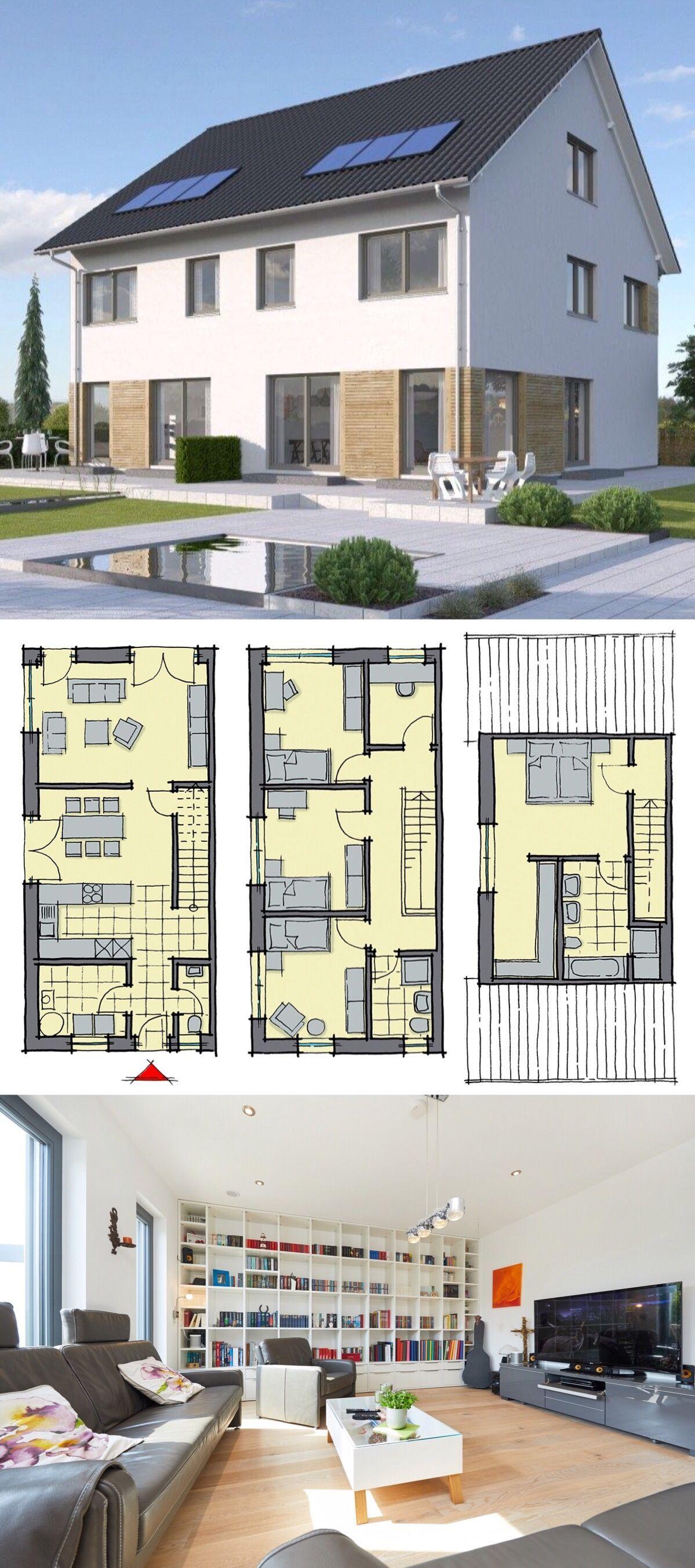 modernes doppelhaus als fertighaus schl sselfertig mit. Black Bedroom Furniture Sets. Home Design Ideas