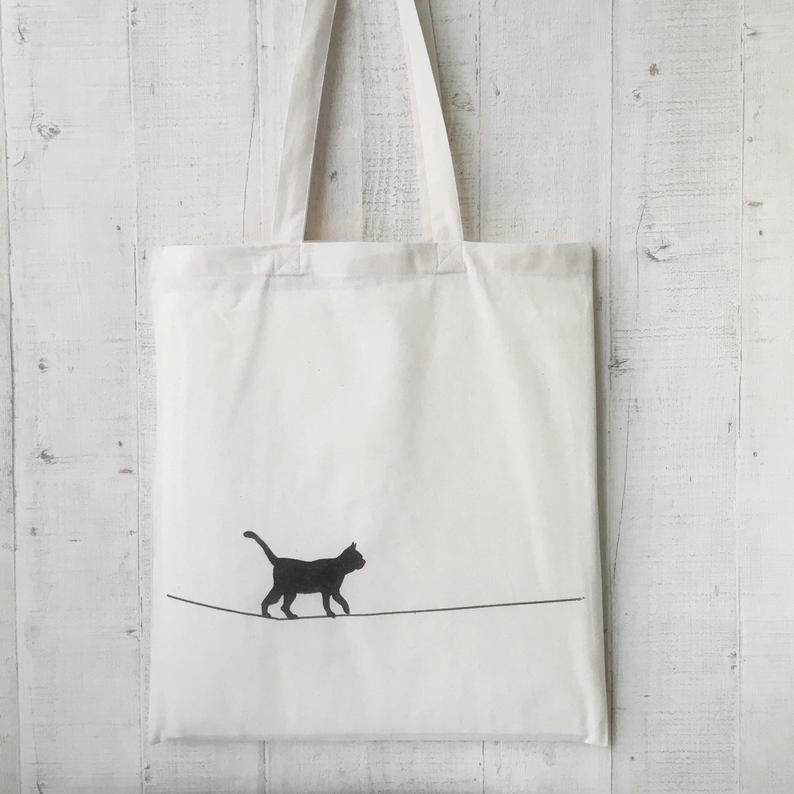 Photo of Borsa casual, borsa in tessuto di cotone, borsa di iuta, gatto verniciato, gatto, cotone