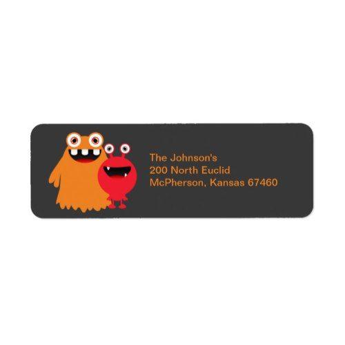 monster fun return address label return address and monsters