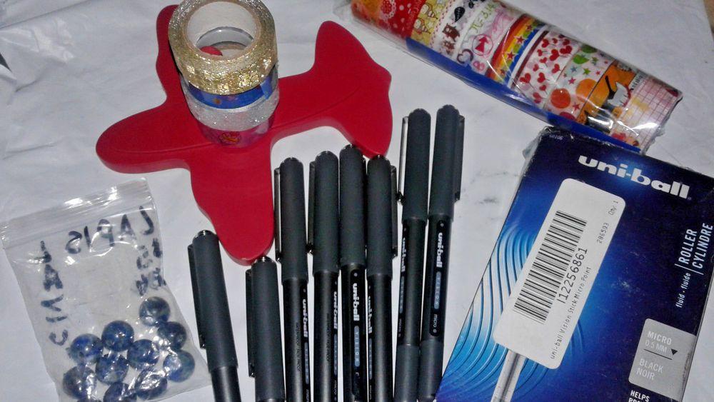 35 Lot Scrapbooking Washi Tape Embelishments Stones Pens Scrapbook