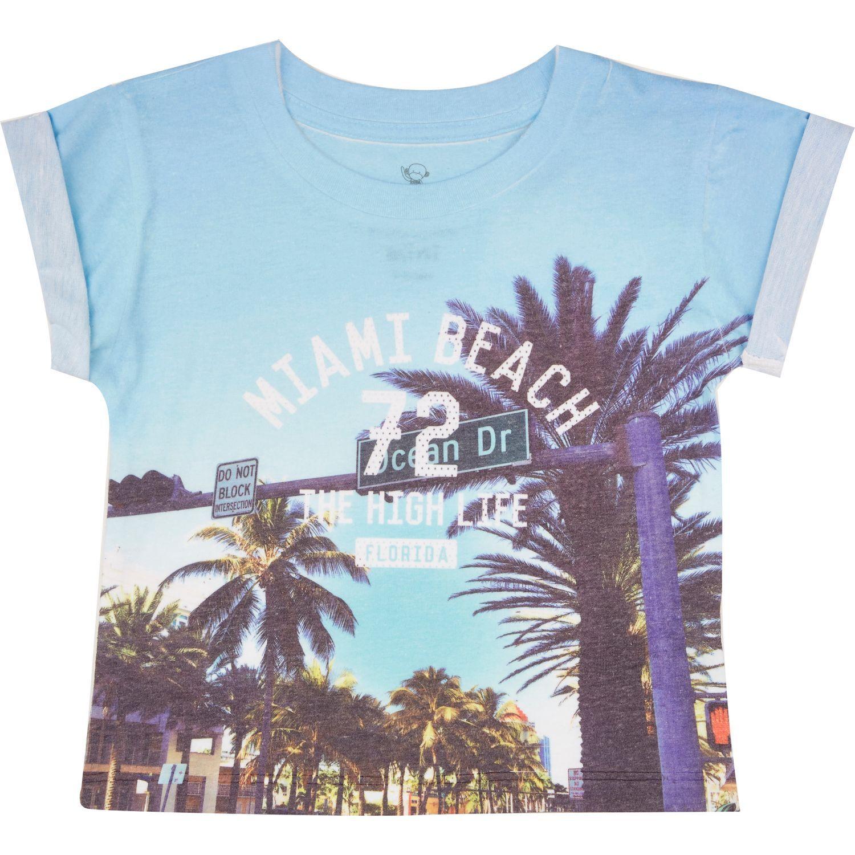 Mini boys blue Miami print t shirt tops mini boys boys