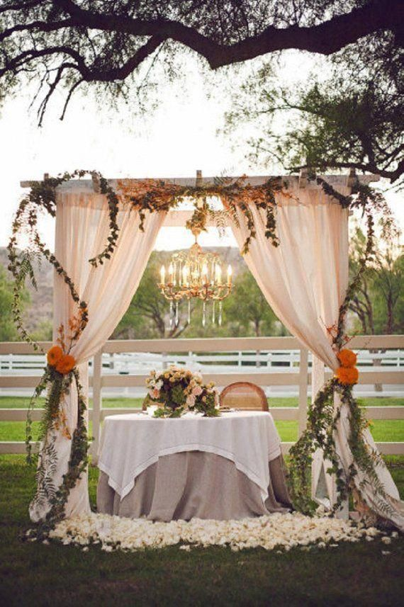 Arch wedding ceremony backdrop Winter Wedding with gauze table | Etsy