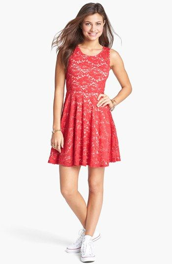 Soprano Sleeveless Lace Skater Dress Juniors Nordstrom Love It