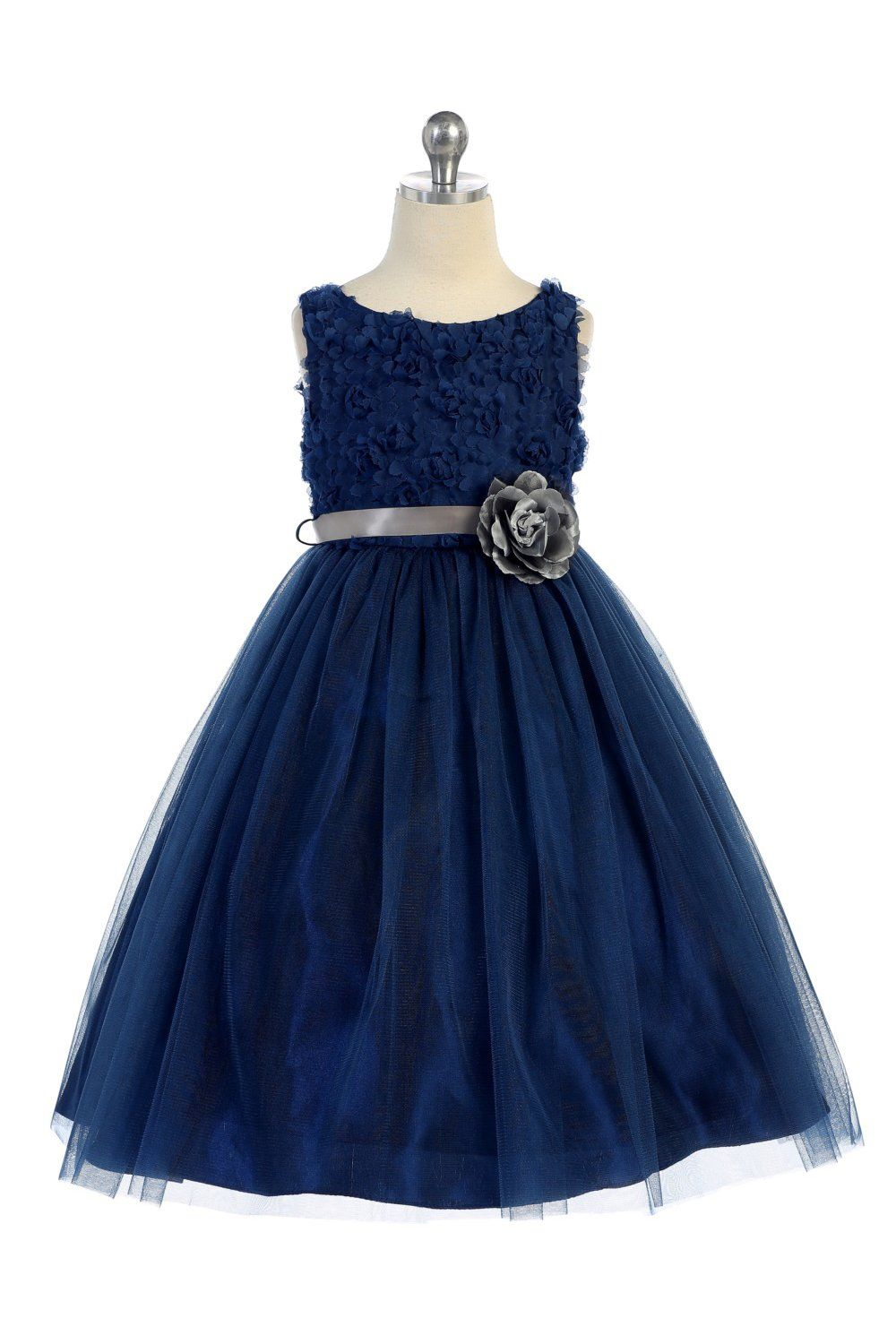 896f77f0ede Navy Blue Sleeveless Tulle Dress with Mesh Rolled Flowers Flower Girl Dress