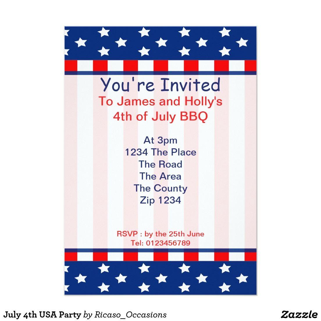 July 4th Usa Party 5 X 7 Invitation Card Usa Party Invitations Invitation Cards