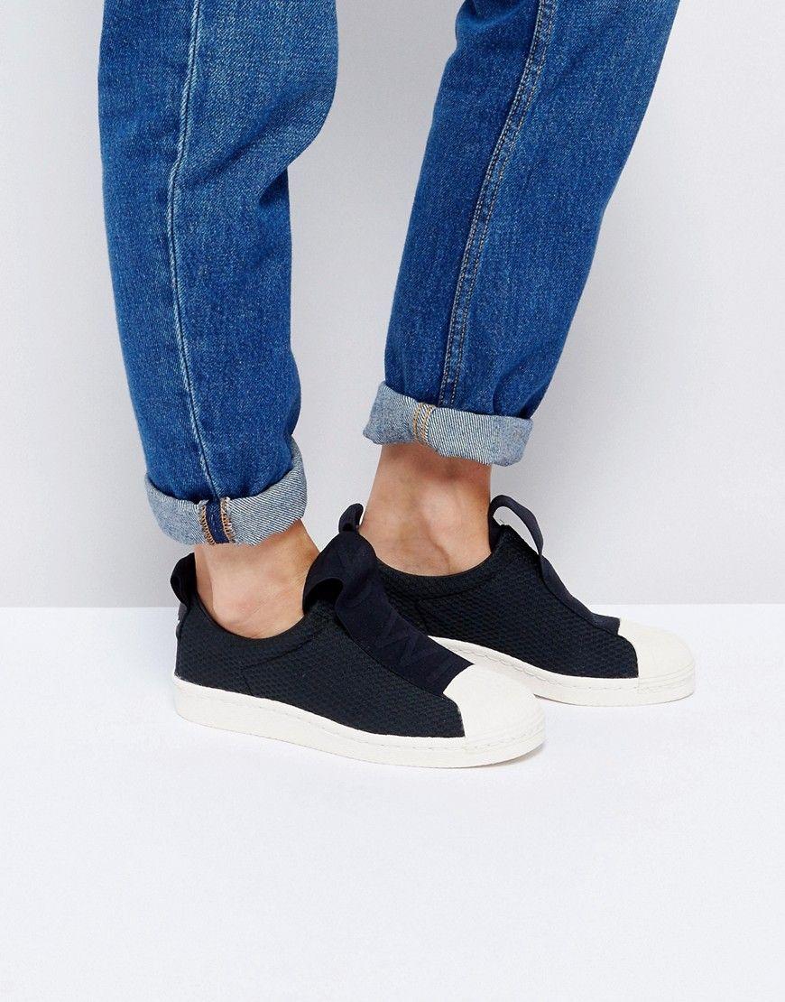 pick up e64e0 ba267 ADIDAS ORIGINALS ADIDAS ORIGINALS BLACK SUPERSTAR SLIP ON SNEAKERS WITH BOLD  STRAP - BLACK.  adidasoriginals  shoes