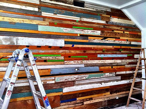 Inspiration: A Salvaged Wood Wall in 3 Days with $130 — Design*Sponge - Reclaimed Wood Wall Love The Way It Looks Very Rustic €� Pinteres…