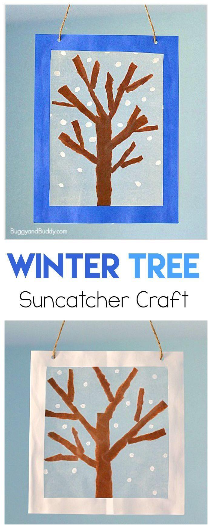 Easy Winter Kids Crafts That Anyone Can Make: Winter Tree Suncatcher Craft Using Tear Art