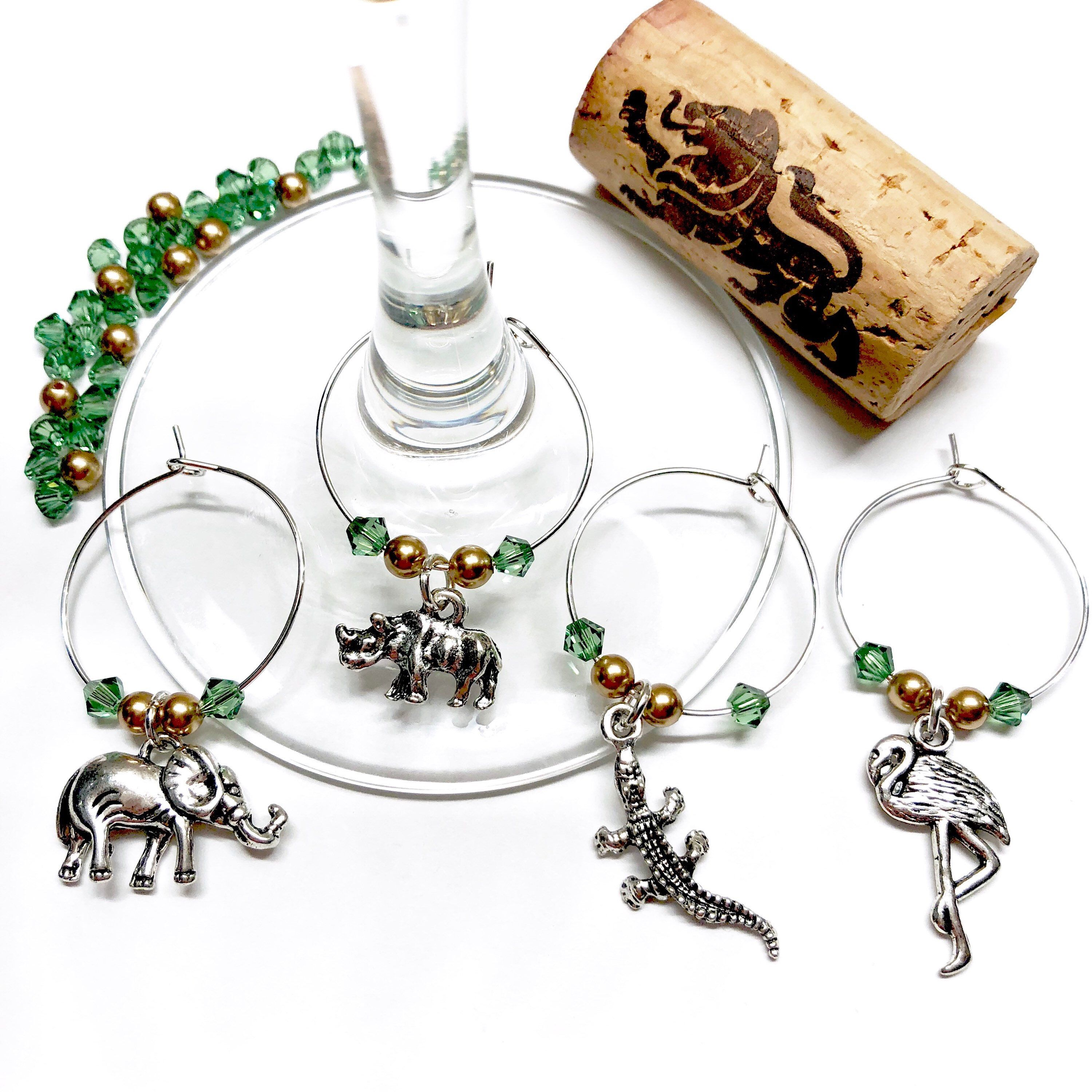 Nile River African wine charms with Swarovski crystals and pearls ...