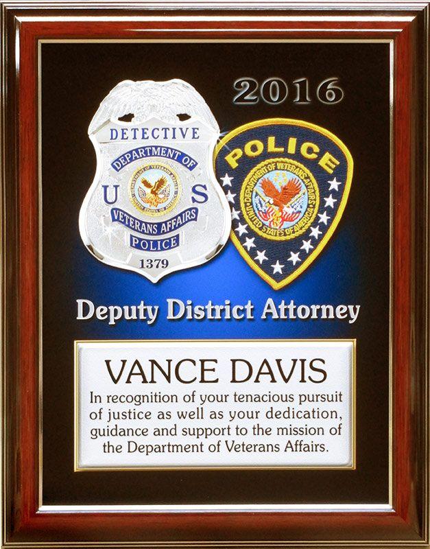 davis, vapd, badge frame, recognition plaque Veterans Affairs PD