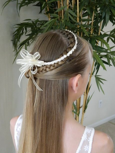 Simple and pretty First Communion hairstyle. | First ...