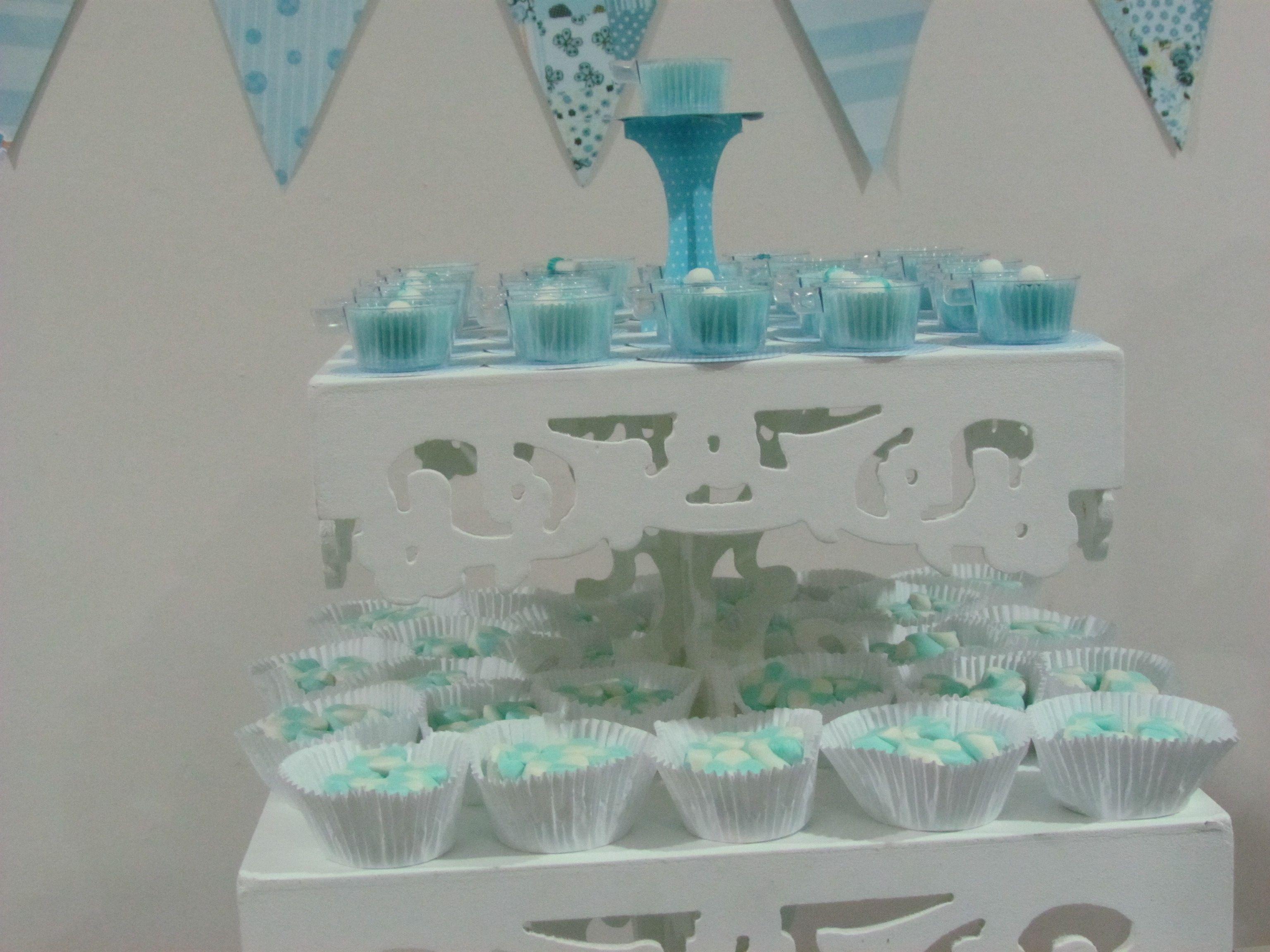 Chá de bebê junino - Marsmallows azuis e brancos