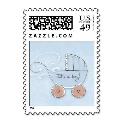 baby carriage it s a boy postage stamp baby announcements postage
