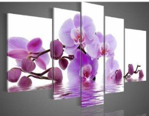 Wood Framed Purple Flowers Water Side Home Decoration $80