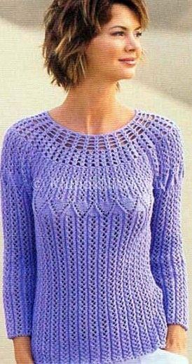 ажурный женский пуловер схемы вязания крючком