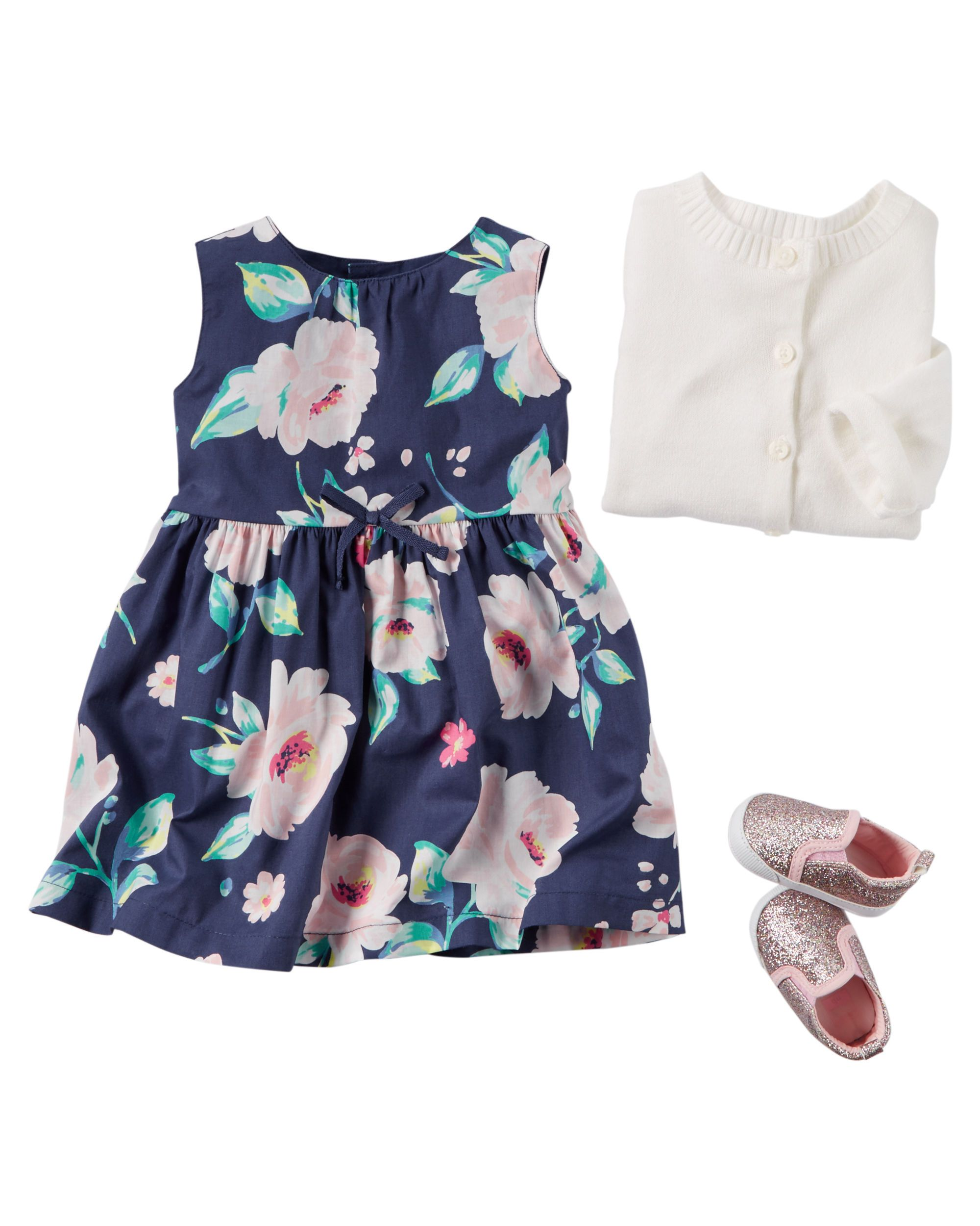 3e6a91f05 Featuring a pretty floral print dress and a cozy cardigan