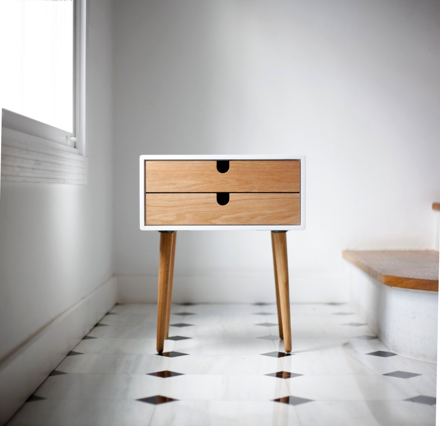 White Nightstand Bedside Table Scandinavian Mid Century Modern Retro Style With 1 Or 2 Drawers And Legs Made Of Oak Wood Bedside Table Scandinavian Scandinavian Furniture White Nightstand