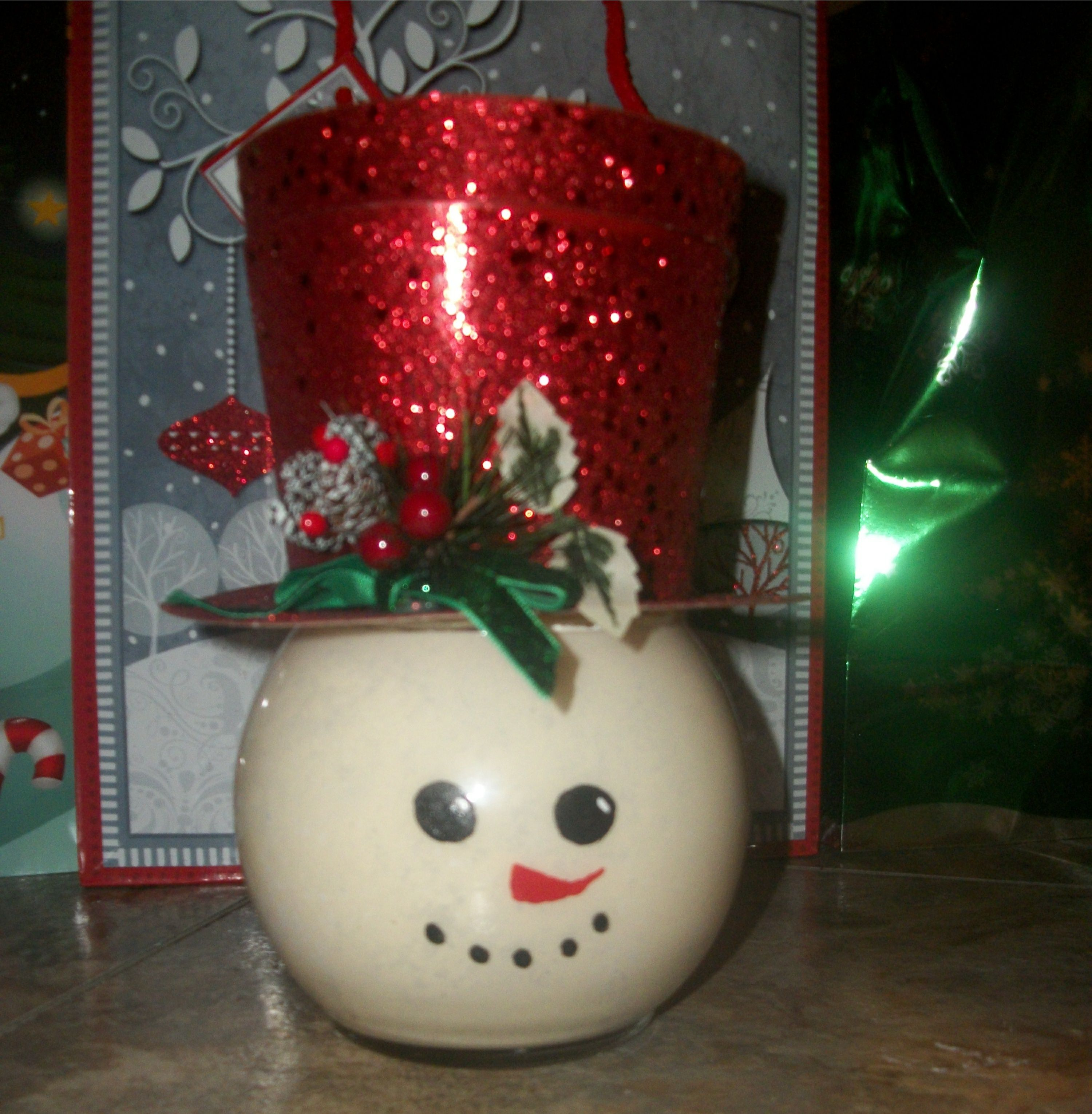 Dollar Tree jar with a candy holder hat decoration
