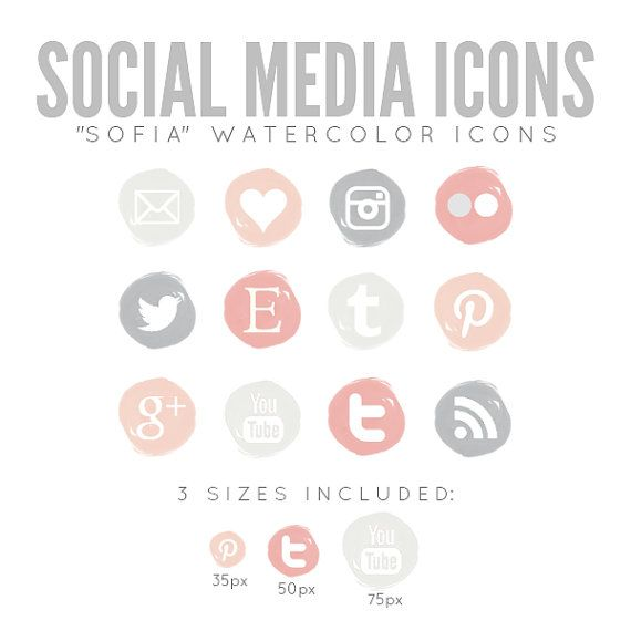 "Watercolor Social Media Icons for Blog Web - ""Sofia"" INSTANT DOWNLOAD"